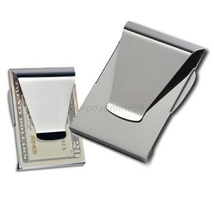 Portable Credit Card Holder Money Clip Vogue Double Side Wallet Stainless Steel