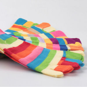 1* Pairs Wholesale Colorful Women's Girl Color Stripes Five Finger Toe Socks@