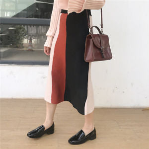 Alcoa Prime Women Fashion Winter Warm High Waist Knitted Knee Length Cotton Pencil Skirts