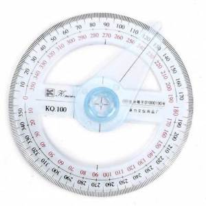 1pc Dia.10cm Round 360° Pointer Protractor Oscillating Arm Angular Scale Viewer