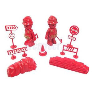 Alcoa Prime Fire Protection Team People w/ Mound Roadblock Model Action Figures Red