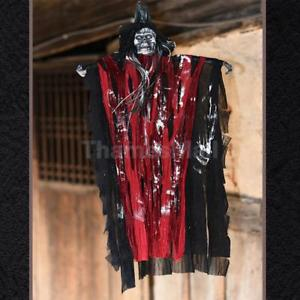 Creepy SKELETON 25'' Hanging Haunted House Ghost Halloween Scary Prop -Red