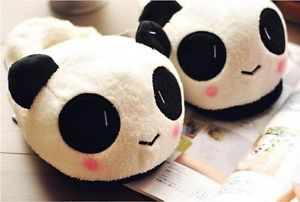 Alcoa Prime New Women Ladies Winter Warm Soft Cute Panda Plush Antiskid Indoor Home Slippers