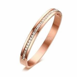Women Chic Luxury Rose Gold Plated Rhinestone Stainless Steel Bangle Bracelet