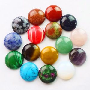 16Pcs Mixed Gemstone Round CAB CABOCHON 20x6mm (Send Randomly) D0055414