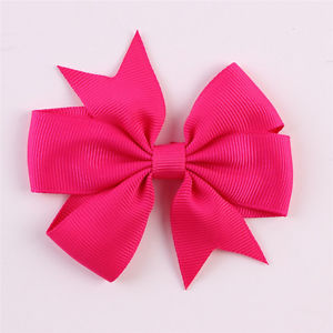 40pcs Solid Color Big Bow-knot Baby Girls Ribbon Baby Hair Clip Boutique Hairpin