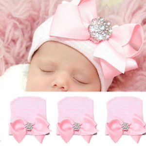 Newborn Pink for Baby Infant Girl Bowknot Diomand Hospital Cap Beanie Hat CPO