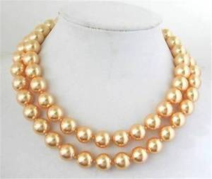 NEW!10mm Gold South Sea Shell Pearl Necklace 34""