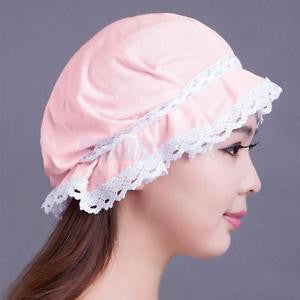 Alcoa Prime Women's Pink 100% Cotton Soft Lace Sleeping Hats Night Cap Adjustable Bonnet