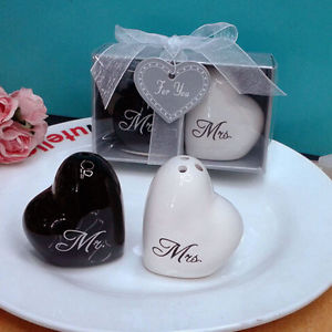 Ceramic Mr & Mrs Heart Shape Salt Shakers Canister Container Set Wedding Gifts