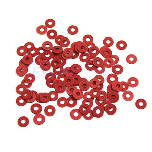 100Pcs New M3 Flat Spacer Washers Insulation Gasket Ring Red
