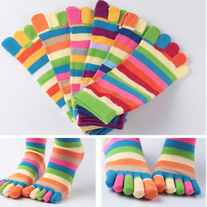 1* Pairs Wholesale Colorful Women's Girl Color Stripes Five Finger Toe SocksLA