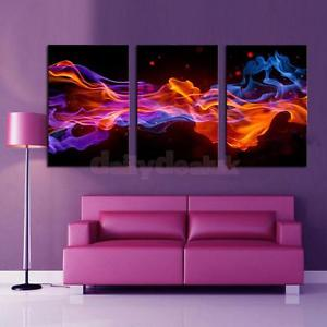 Alcoa Prime Set of 3 Large 50cm*70cm Canvas Modern Decorative Wall Painting Picture Fire