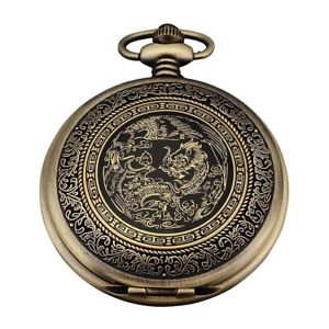 Alcoa Prime Quartz Pocket Watch, Analog, Bronze Box, with Dragon series WPK062 X5G6