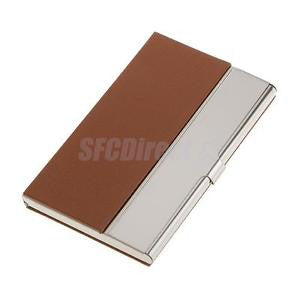 Alcoa Prime Stainless Steel Business Card Name ID Card Holder Case Box- Brown