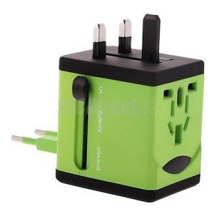 Alcoa Prime Green All-in-One Universal Travel Power Adapter Converter AU-UK-US-EU Plug