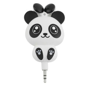 Wired Earphones Cartoon Panda Retractable Handsfree Headphone In-Ear Earbuds Fun