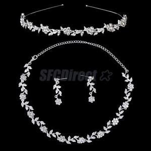 Alcoa Prime Wedding Bridal Jewelry Set Crystal Flower Leaves Necklace Earring Tiara Headband
