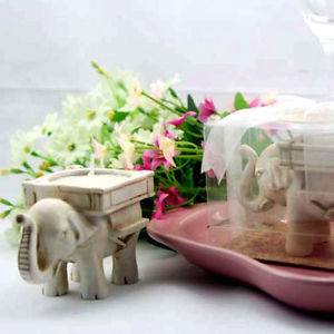 Alcoa Prime Cute Elephant Tea Light Candle Holder Ivory Ceramic Bridal Wedding Home Decor QW