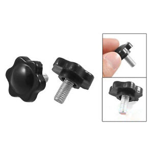5 Pcs M6 x 15mm Male Thre 25mm Hex Shaped He Clamping Knob Black AD