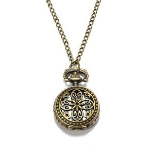 Alcoa Prime Round Quartz Pocket Watch Bronze Necklace Saudi number Hollow Flower T5Z4