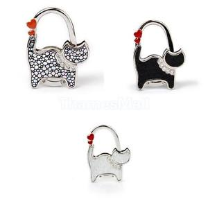 3pcs Cat Rhinestone Folding Purse Handbag Bag Table Hook Hanger Holder Gift DIY