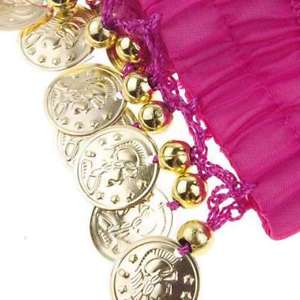 Alcoa Prime 1 Pair Belly Dance Arm Cuff Wrist Bracelets w/ 18 Golden Coins (rose Red) H4O1