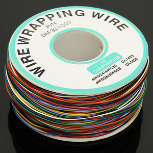 Alcoa Prime New 30AWG 0.25mm Tin Plated Copper Wire Wrapping Insulation Test Cable 8-Colored