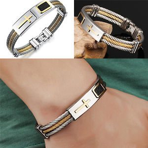 New Stainless Steel Men's Bracelet Three Rows Wire Braiding Cross Leather Bangle