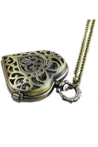 Alcoa Prime Hollow Heart-Shaped Pocket Watch Necklace Pendant Chain Bronze S4Y6