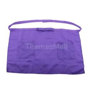 Half Long And Short Waist Purple Dining Apron for Catering Chef Waiter Bar