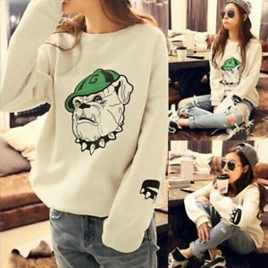 Women Fashion Pullovers Long Sleeve Crew Neck Loose Knitted Sweater Jumper EW