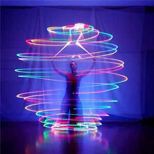 LED Multi-Coloured Glow POI  Thrown Balls Light up For Belly Dance Hand Props EF