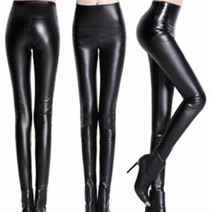 Thickened Leggings Skinny Pants Women's Leather Warm Pants High Waisted Trousers