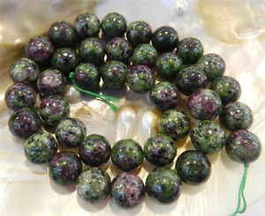 "10mm Red Green Ruby Zoisite Round Loose Beads 15"" Strand AAA+"