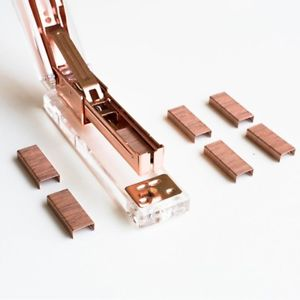 Pro Clear Rose Gold Desktop Acrylic Stapler+1000 pcs Staples Set For Home Office