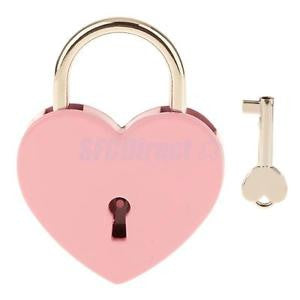 Alcoa Prime Large Heart Shape Padlock w/ Key Closet Security Shackle Lock Set - Pink