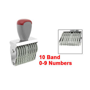 Office 10 Band 5mm x 3mm Rubber 0-9 Numbers Numbering Stamp Gray Red LW
