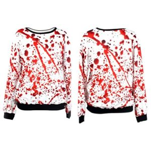 Blood Drop Printed Blouse Long Sleeve Costume Pullover Tops Sweatershirt