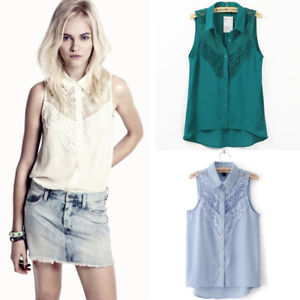 Sexy Women Summer Sleeveless Casual Button Down Shirt Chiffon Top Blouse Green M