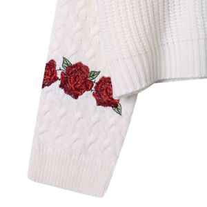 Women Floral Embroidery Crop Hoodie Sweatshirt Jumper Sweater Pullover Tops Coat