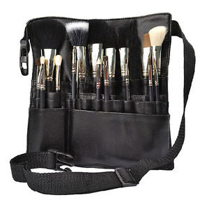 Alcoa Prime Black 22 Pockets Cosmetic Makeup Brush Apron with Artist Belt Strap Holder Bag