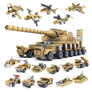 Cool Building Toys Set Army Military Crafts 16in1 Tank Aircraft Building Blocks