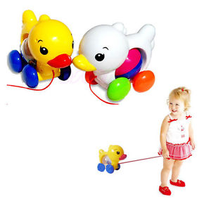 Classic Drag Duck Plastic Toddler Kids Baby Learn Walk Toy Fun Pull Rattles Toy