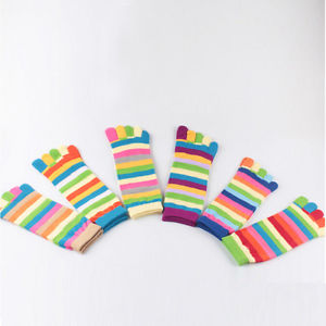 1* Pairs Wholesale Colorful Women's Girl Color Stripes Five Finger Toe Socks&