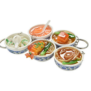 1 Pcs Simulation Food Key Chains Chinese Food Bowl Keyring Creative Bag Chain QW