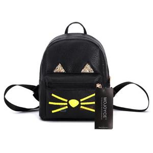 Preppy Chic Lovely Cartoon Pattern Women PU Leather Backpack School Bag Black