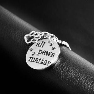 """All Paw Matter"" Inspirational Message Pendant Animal Foot Print Paws Necklace"