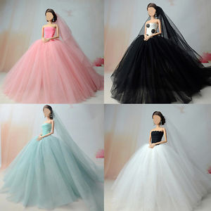 Blue Fashion Handmade Princess Dress Wedding Clothes Gown+veil for Barbie Doll.
