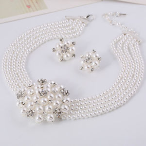 Alcoa Prime Wedding Bridal Jewelry Sets Necklace Earring Flower Pearl Crystal Rhinestone HI